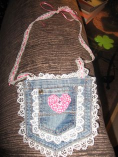 Purse made from jeans pockets