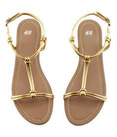 H&M Sandals - tellez - Juwelen Cute Shoes Flats, Ella Shoes, Shoes Flats Sandals, H&m Shoes, Cute Sandals, Pretty Shoes, Me Too Shoes, Shoe Boots, Strappy Flats