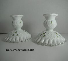 Vintage Fenton Milk Glass Candlesticks Violets in the Snow Spanish Lace Hand Painted Artist Signed 70s/80s Retro Room Decor Vintage Glass by CapricornOneVintage on Etsy