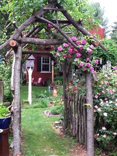 I want lots of structures like this made from driftwood and manuka, rustic arbor and fence