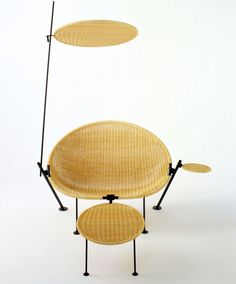 // Vittoriano Viganò; Wicker and Enameled Metal Terrace Chair for the Beltcehev House, 1951.