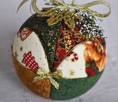 quilted ball, bola de patchwork sin aguja, Christmas ornament