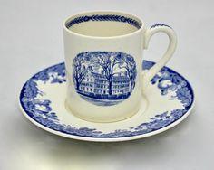 Vintage Wedgwood Demitasse Cup and Saucer for Harvard