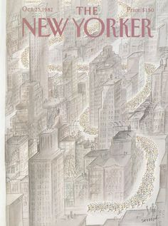 "The New Yorker - Monday, October 25, 1982 - Issue # 3010 - Vol. 58 - N° 36 - Cover by ""Sempé"" - Jean-Jacques Sempé"