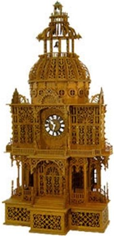 Dome Clock Scroll Saw Pattern Once you've completed this project, you can count yourself among the masters! Each floor is elaborately detailed with intricate cutouts and embellishments. Measures 22 in