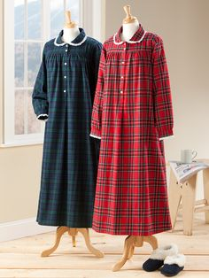 Lanz of Salzburg Classic Flannel Nightgown: Reminiscent of the comfy nightgowns we wore as kids. It's beautifully tailored in soft, brushed flannel and features a pretty Peter Pan collar accented with white eyelet lace trim. Night Suit, Night Gown, Sleepwear Women, Pajamas Women, Abaya Fashion, Fashion Dresses, Gothic Fashion, Flannel Nightgown, Designs For Dresses