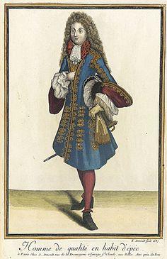 Nicolas Arnoult (France, circa 1671 - 1700)   Recueil des modes de la cour de France, 'Homme de Qualité en Habit d'Épée', 1687