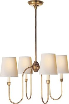 Vendome Small Chandelier from the Thomas O'Brien collection. Custom Height Available. Suitable for Slanted Ceiling.