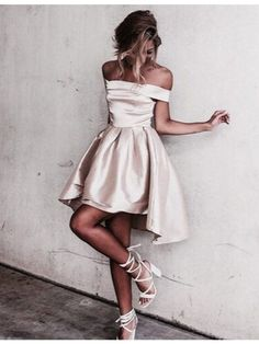 Cute Champagne Off the Shoulder Short Sleeves Pleats High Low Prom Dress#promdress#Homecoming Dressess#dress#dresses