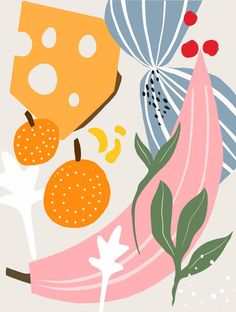 1975 kitchen Mini Art Print by Danse de Lune - Without Stand - x Art And Illustration, Graphic Design Illustration, Illustrations, Flowers Wallpaper, Poster Photo, Conversational Prints, Banana Art, Art Watercolor, Fruit Art