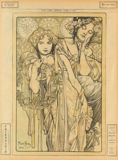 ALPHONSE MUCHA (1860-1939) FRIENDSHIP / NEW YORK DAILY NEWS. April 3, 1904.