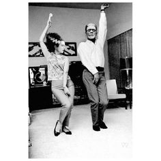 """I have always loved this photo since I saw it floating around the  Internet.  I instantly knew someone with a sense of humor took the  1960's photo of Joanne Woodward & Paul Newman dancing  in their home and thought """"monster mash edit!"""" Haha! I do not know  who crafted the faces of the Monster & his Bride onto Paul & Joanne's heads but I'd love to give credit!  #TRICK or #Treat    #HappyHalloween . by vintage_vixens from #instagram"""