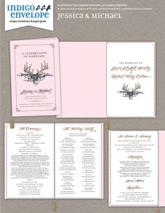 This is a booklet-style wedding program with an elastic tassel to hold the pages together. #weddingprogram #indigoenvelope