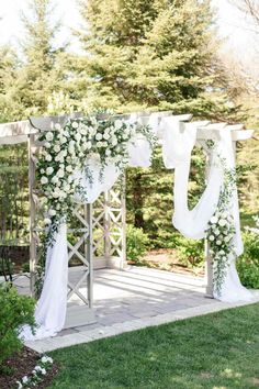 Pergola Wedding Decor, Outdoor Wedding Ceremony Arch, Draped Ceremony Arch, Greenery Wedding Arch | ElegantWedding.ca #pergola #weddingceremony