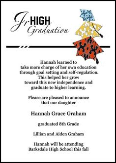 Find creative invitation announcement wording samples for all type create your own unique jr high school graduation colorful caps announcement invitation cards at graduationcardsshop stopboris Choice Image