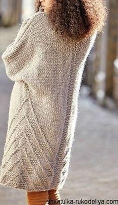 Пальто спицами из толстой пряжи. Пальто в стиле oversize спицами с описанием | Шкатулка рукоделия