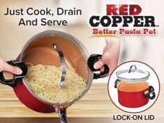 Red Copper Better Pasta Pot in Clearance #sale #sellingfast #greatgift all cooks will love this spaghetti cook drain and serve affiliate link