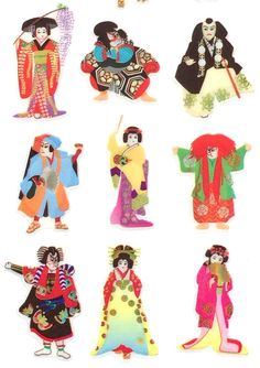 Japanese Stickers  Kabuki Stickers  by FromJapanWithLove on Etsy