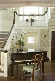 Baby Grand in the entry hall! - Anthony Catalfano Interiors; Photography by Eric Roth.