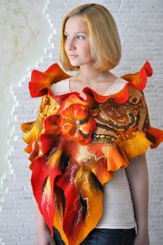 Beautiful shawl in oranges with nuno felted orange patterned fabric