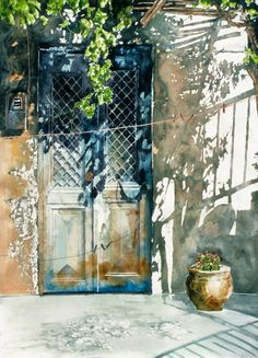 Micheal Zarowsky Grapevine door, Tinos, Cyclades 2001 x watercolour on arches paper (private collection) Watercolor Sketch, Watercolour Painting, Painting & Drawing, Watercolours, Watercolor Architecture, Watercolor Landscape, Guache, Art Abstrait, Windows