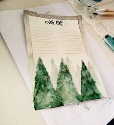 A wish list for Christmas.  #wishlist #wunschliste #wish #list #wünsche #christmas #weihnachten #liste #kreativ #creative #inspiration #aquarell #paint #gemalt #snow #winter #landscape