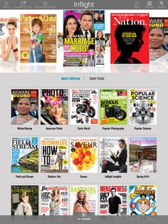 Inflight Reader app - dowload magazines for free for 24 hours while at the airport.