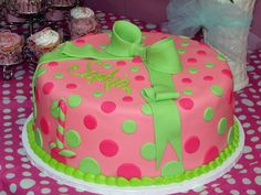 pink and green polka dots. Sophia's first birthday cake!