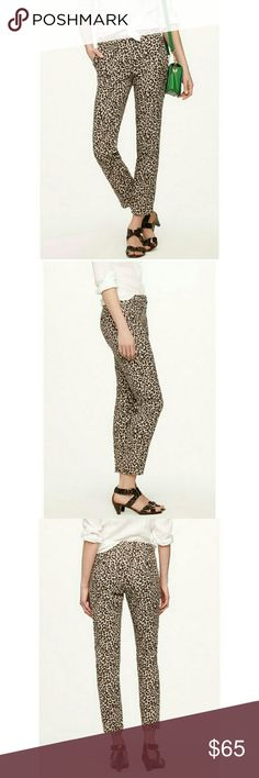 "💥HOST PICK💥 J. Crew Cafe Capri Animal Print 100% linen inseam 23"" rise 8.5"" NWOT J. Crew Pants Ankle & Cropped"