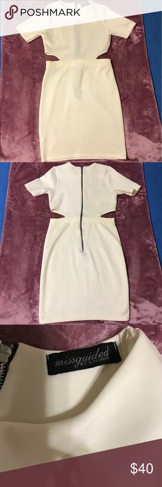 "Women Ivory ""Missguided Fashion"" Bodycon Dress Women Ivory Bodycon dress by Missguided Fashion. This dress comes with open ""Peek-a-boo"" sides made to fit any occasion. Pre-owned! never worn. Brand New w/o Tags. 95% polyester 5% Elastane. Size: U.K. 12/EU 40/US 8/ AUS 12 Measurement: Waist-Hem 21""/Waist 27""-30"" (on average stretch) Missguided Dresses"