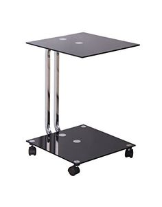 UCT211 - Accent Side Stand w/ Wheels and Black Tinted Glass - Click image twice for more info - See a larger selection of  glass coffee tables at http://zcoffeetables.com/product-category/glass-coffee-tables/ - home, home decor, home ideas, home furniture, office furniture, table, gift ideas, living room,