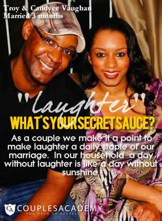 COUPLES ACADEMY ASKS, WHAT IS YOUR SECRET SAUCE? Love And Marriage, Laughter, Relationship, Couples, Relationships, Couple