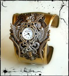 Gothic Steampunk Watch in Silver and Brass - Men Women Steampunk Cuff Watch