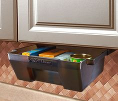 Add easy-access storage under tables and cabinets, in closets or pantries. Durable, easy to clean molded poly drawers rest on self-locking sliding channels. Double rail design for flat or lipped cabin