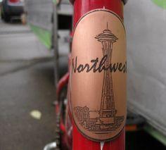 Seattle Space Needle-bicycle accessories, bike badge, bicycle head badge, bicycle badge, space needle, pacific northwest art, seattle art, ArtByWinona