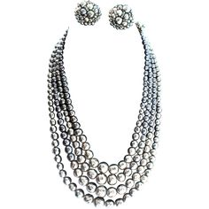 Vintage Coppola e Toppo Silvery Fx Baroque Pearl Necklace and Earring Set