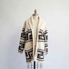 Navajo-inspired black and white vintage sweater, $35 on etsy.com