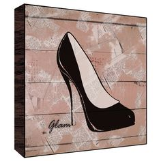 Green 12x12 Glam Shoes Wood Art