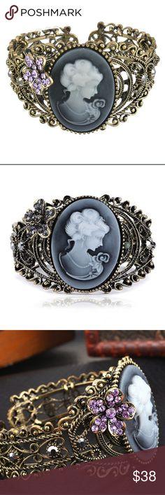 Spotted while shopping on Poshmark: Victorian Bracelet w/ Purple or Black Flower! #poshmark #fashion #shopping #style #Jewelry