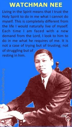 "Watchman Nee.Matthew 11:28-29 ""…Come to me, all who labor and are heavy laden, and I will give you rest. Take my yoke upon you, and learn from me, for I am gentle and lowly in heart, and you will find rest for your souls. For my yoke is easy, and my burden is light."""