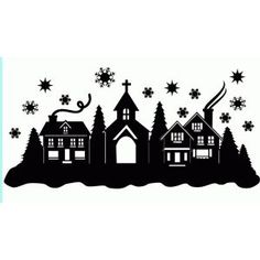 Silhouette Design Store: Christmas Town Snow Scene - New Ideas Christmas Town, Noel Christmas, Christmas Projects, Holiday Crafts, Christmas Ornaments, Christmas Stencils, Christmas Design, Silhouette Design, Silhouette Cameo