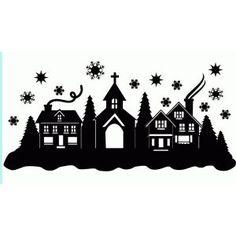 Silhouette Design Store: christmas town snow scene