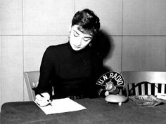 """December 21, 1953 at the United Nations, Audrey Hepburn Reads """"My Most Unforgettable Child, """"a documentary on children around the world  for the United Nations Children's Fund  over U.N. Radio."""