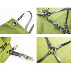 Genuine Leather Straps Can be Taken Off When Need to Wash the Aprons.   Convenient Pockets.   Size: Length: 80cm Bottom Width: 64cm Bust Width: 28cm