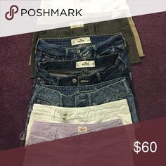 Shorts Bundle - Qty 8 Hollister, American Eagle, Mossimo Supply eight pairs in total some distressed some are not all buttons snaps and zippers are working. All are listed individually on the site. All shorts are size 0 except for the white American Eagle they are a size 00. Shorts Jean Shorts