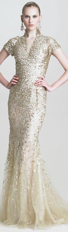 Oscar de la Renta Floral-Sequin V-Neck Gown
