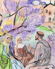 St. Francis preaching to St. Clare and companion sketch by Kathy Ellinger, OFS