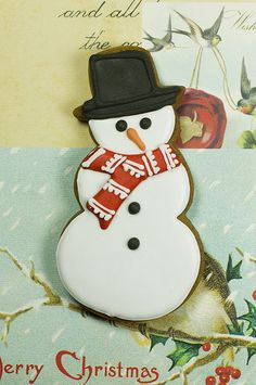 snowman iced cookie