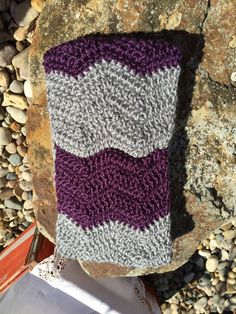 Crochet ear warmer Purple gray chevron crochet headband