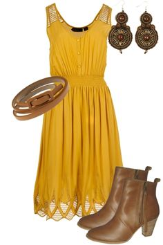 Like the dress, earrings, and boots together.